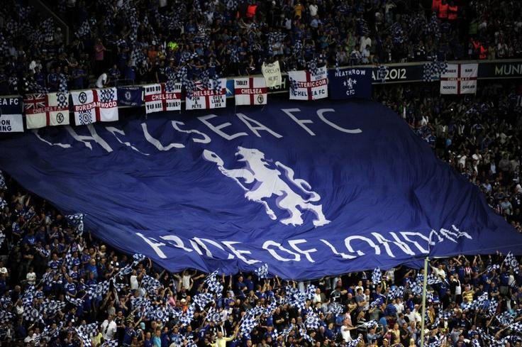 Chelsea fans break out the BLUE FLAG
