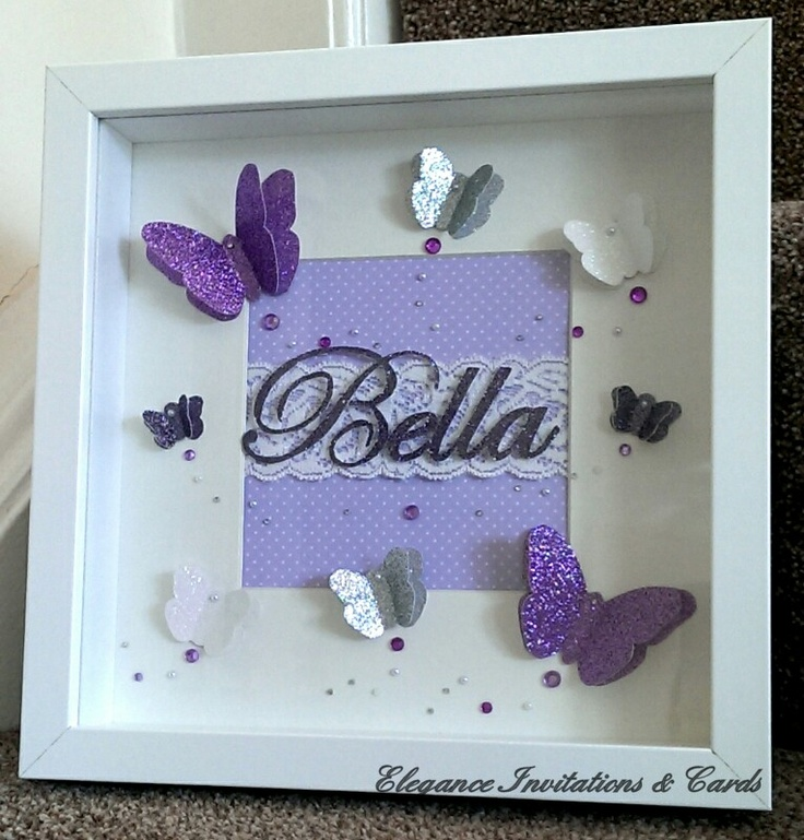 "Beautiful handmade 3D butterfly frame, can be personalised with a name of your choice and is also available in various other colours. Each butterfly is hand cut from a hand drawn template which makes them completely unique! The name is cut using a paper cut technique which allows me to add any name. Frame measures 25 x 25cm (9"" x 9"")"
