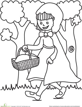 Worksheets: Color the Little Red Riding Hood Scene