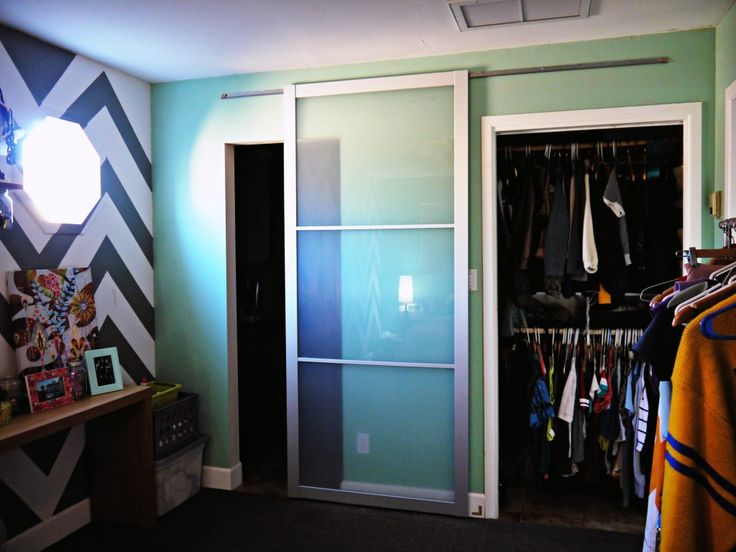 diy ikea hack use pax wardrobe door as a sliding door. Black Bedroom Furniture Sets. Home Design Ideas