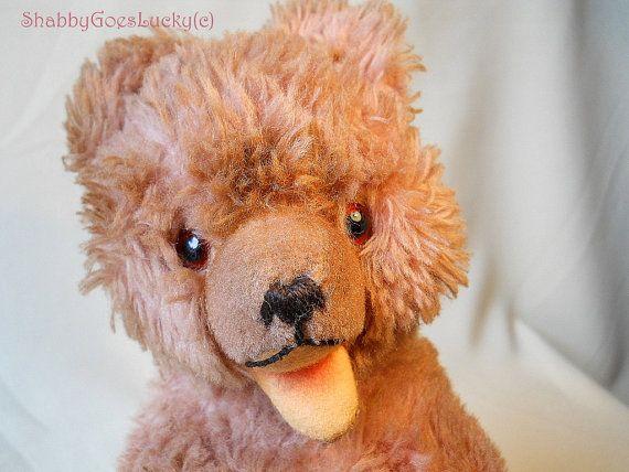 Duitse vintage teddy beer cub gemaakt door Hermann Teddy met de naam Zotty dragen Cub, Dralon pluche, glazen ogen, open mond, squeaker, draaibaar hoofd, 10 in