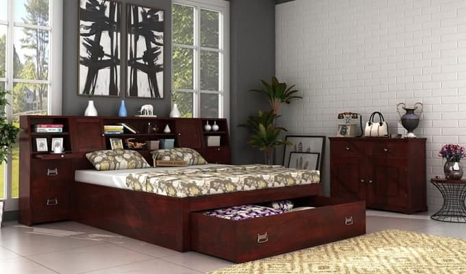 Buy Harley Bed With Storage (King Size, Mahogany Finish) online in India at the most affordable prices. Enjoy great discount on modern bedroom furniture online with high quality to beautify your bedroom. Visit : https://www.woodenstreet.com/bedroom-furniture