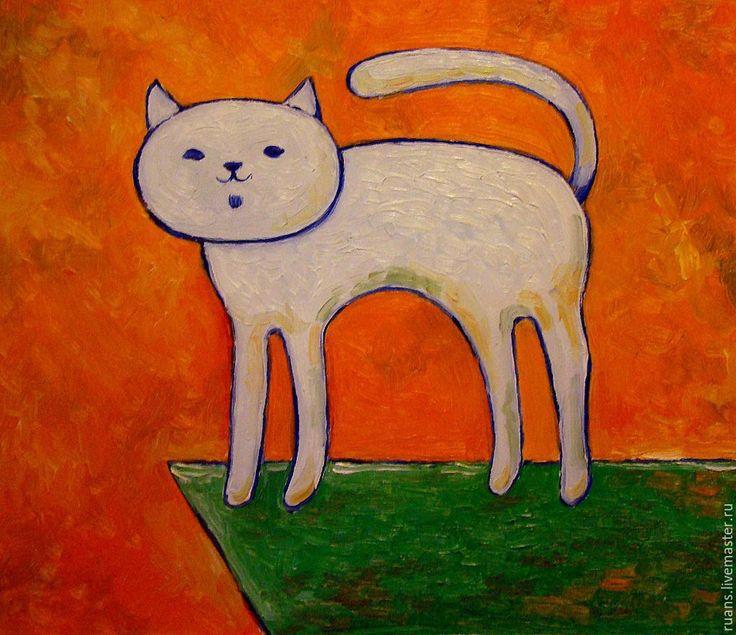 Купить Белый кот - разноцветный, картина, декоративная живопись, Живопись, картина для интерьера, масло, анималистика