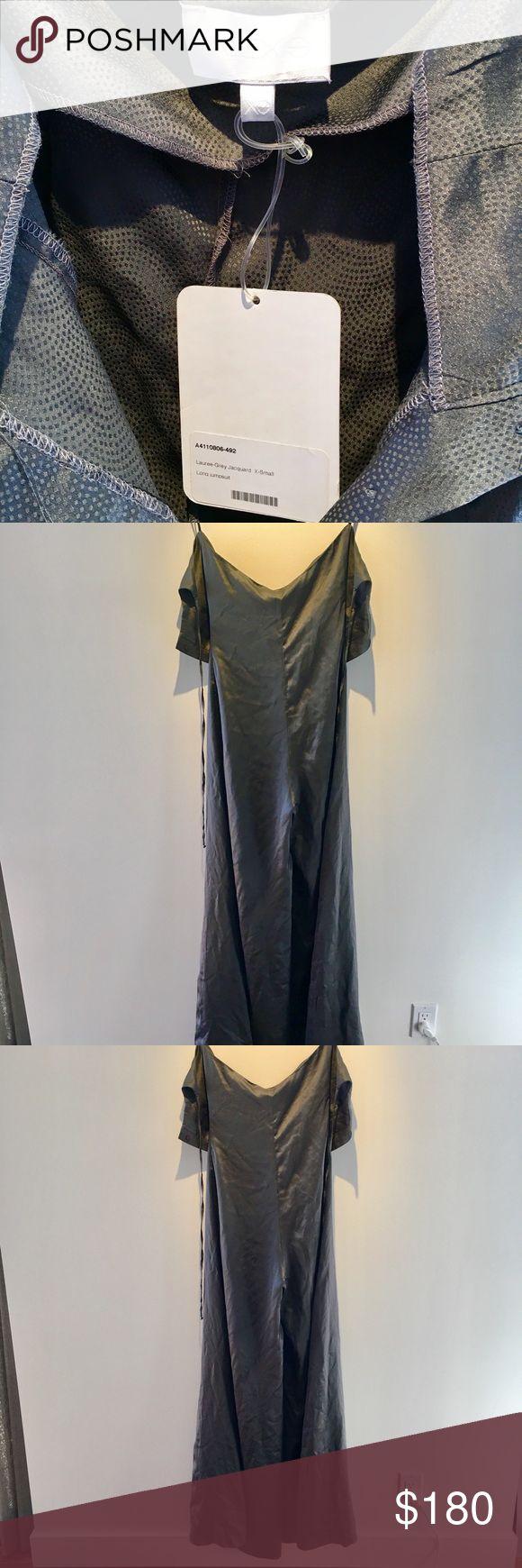 Alexis Lauree Silk Jumpsuit Alexis Lauree Silk Long Jumpsuit. Never worn. Original condition. Tags still attached. Grey-Jacquard. Size XS. Alexis Dresses