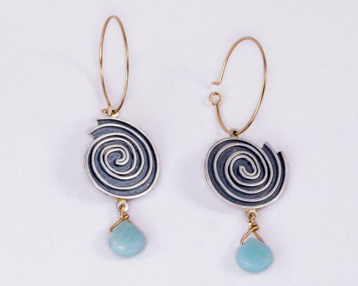 Twirl amazonite silver earrings - Oxydized silver, Gold-filled silver by JackAssayagJewelry on Etsy