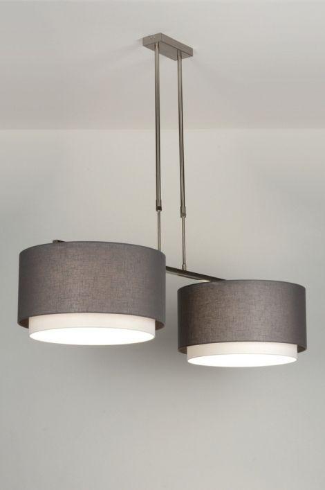 Huisdecoratie interieur verlichting voor woonkamer eettafel keuken . Mooie landelijke moderne hanglamp . Sfeervolle stalen hanglamp met twee dubbele, stoffen kappen.  De kappen bestaan uit twee kappen die over elkaar heen vallen. De buitenste kap heeft een antraciet kleur en de stof heeft een linnen structuur. Doordat deze stof iets grover is laat deze kap meer licht door. De binnenste witte kap is fijner van structuur en heeft een mooie gladde stof.  Belgium , Klik op Link…