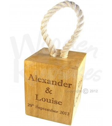 ersonalised Wooden Doorstop with Rope Handle ideal Wedding Gift or 5th Wooden Wedding Anniversary