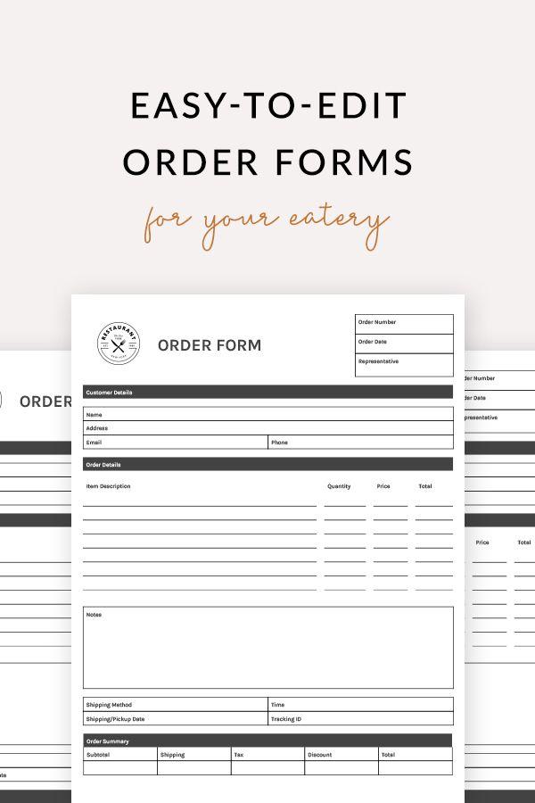 Cake Cupcake Order Form Restaurant Spider Order Form Form Ms Word