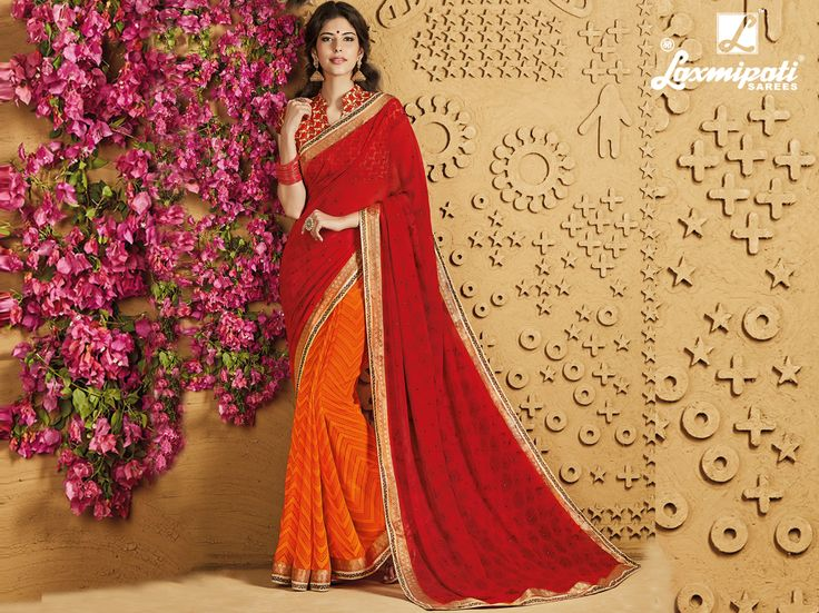 Choose this Perfect Red & Orange Georgette Stone Foil work Saree with Rawsilk Multicolour Blouse along with Jari Embroidered Lace Border from Laxmipati at an upcoming special occasion. #Catalogue #SANGEET Price - Rs. 1917.00 Visit for more designs@ www.laxmipati.com.  #GaneshChaturthi #GaneshChaturthi2016 #Ganesh #monsoon #Shopping #Shoppingday #ShoppingOnline #fashionstyle #ReadyToWear #OccasionWear #Ethnicwear #FestivalSarees #Fashion #Fashionista #Couture #SANGEET0816 #LaxmipatiSaree #Au