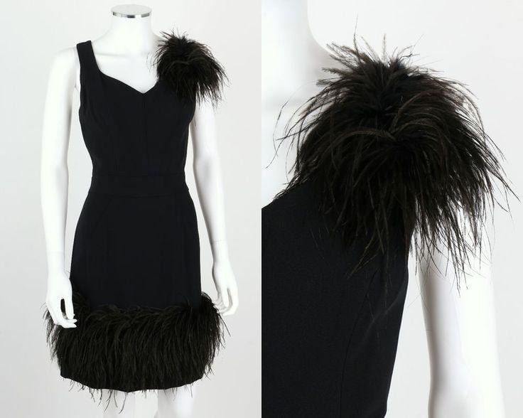 VTG 1960s BLACK SLEEVELESS OSTRICH FEATHER TRIM COCKTAIL PARTY DRESS SZ M OOAK