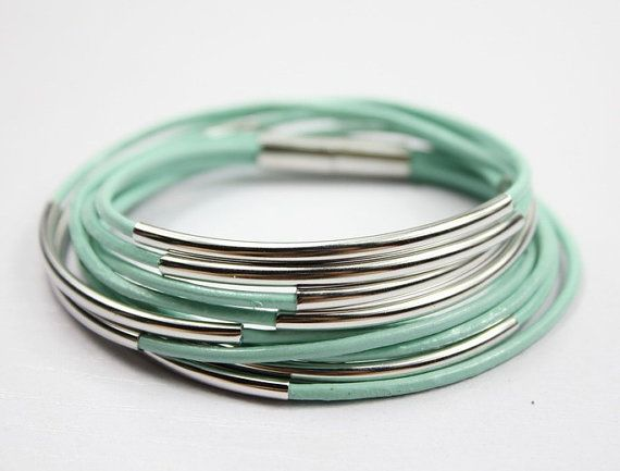 Mint Leather Wrap Bracelet with Silver Plated Tubes por Showrist, $15.00