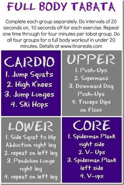 Tabata workout, been cross training with tabata lately and LOVE it! It's easy to make your own to target muscle groups you might otherwise be leaving out...and gets your cardio in as well :)