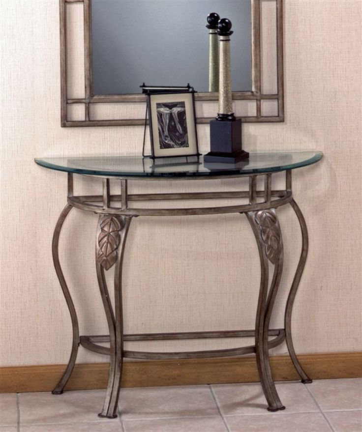 Wrought iron console table w demilune glass top wrought for Wrought iron and glass table
