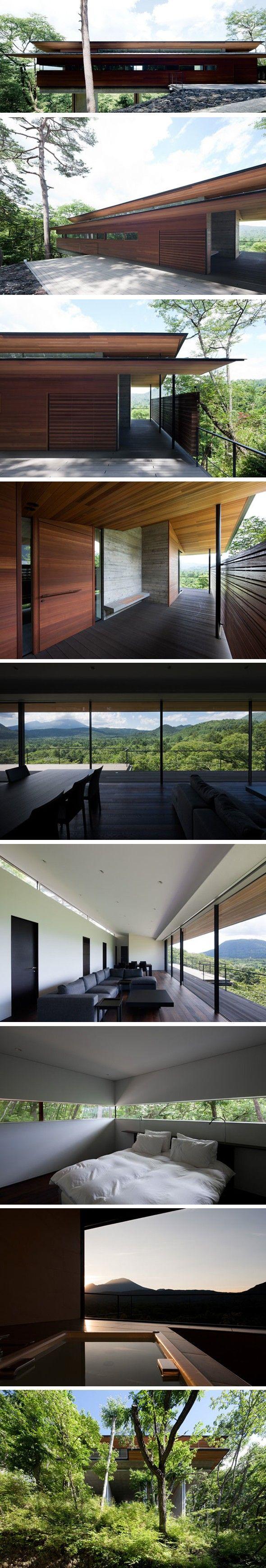 Prenons un peu de hauteur Cette résidence de 145 m2 réalisée par l'architecte japonais Hirotaka Kidosaki est perchée sur une montagne luxuriante dans la pr