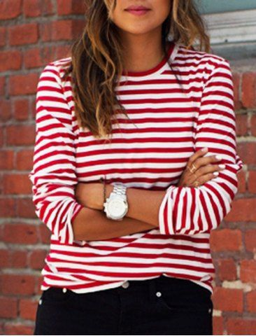 Casual Round Collar Stripes Print Long Sleeve T-Shirt For Women T-Shirts | RoseGal.com Mobile