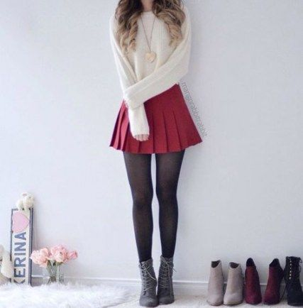 32 Ideas For Skirt Outfits Fall Boots Teen Fashion