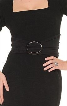 OVAL BUCKLE STRETCHY JERSEY TUBE BELT IN BLACK