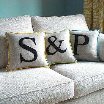 Piped Edge Initial Cushion - Kate Sproston Design