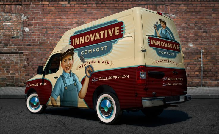 For their vehicle wrap, Innovative Comfort Heating & Air taps into the power of nostalgia to stand out in a saturated market. - NJ Advertising Agency, NJ Ad Agency, NJ Web Design, NJ Logo Design | Graphic D-Signs, Inc. #truckwraps #advertising #design #graphicdesign #vehiclewraps #besttruckwraps #bestvehiclewraps