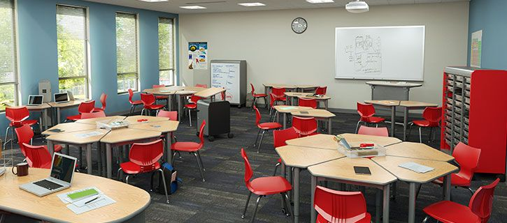 Modern Classroom With Students : Classroom furniture is a physical point of contact between