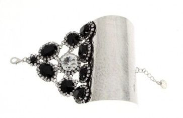 """Dracophyllum"" - Handmade antique metal bracelet with Swarovski crystals and strasses, by Art Wear Dimitriadis"