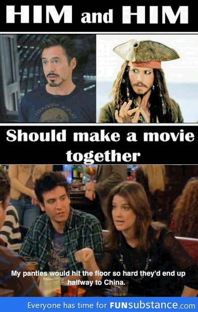 Robert Downey Jr & Johnny Depp should do a movie together haha but only if Johnny depp looked like jack sparrow in it