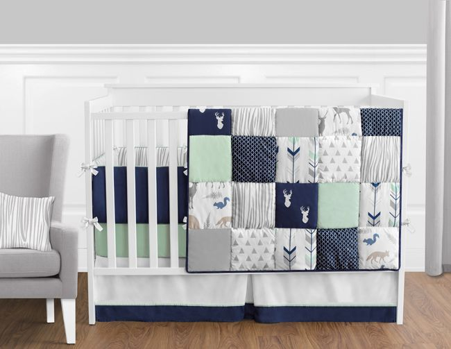 Woodsy Navy, Mint and Grey Crib Bedding Set - Sweet Jojo Designs - http://www.childrensbeddingboutique.com/woodsy-navy-mint-and-grey-crib-bedding-set/