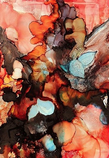 "Daily Painters Abstract Gallery: ""Forest Floor"" Original Alcohol Ink Abstract Painting by New Orleans Artist Lou Jordan"