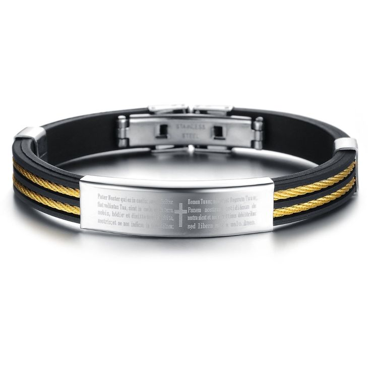 2015 New Trendy Man Genuine Silicone Bracelet Bangle 316L stainless steel Titanium Jewelry Boyfriend Gift Hot Sell Free Shipping