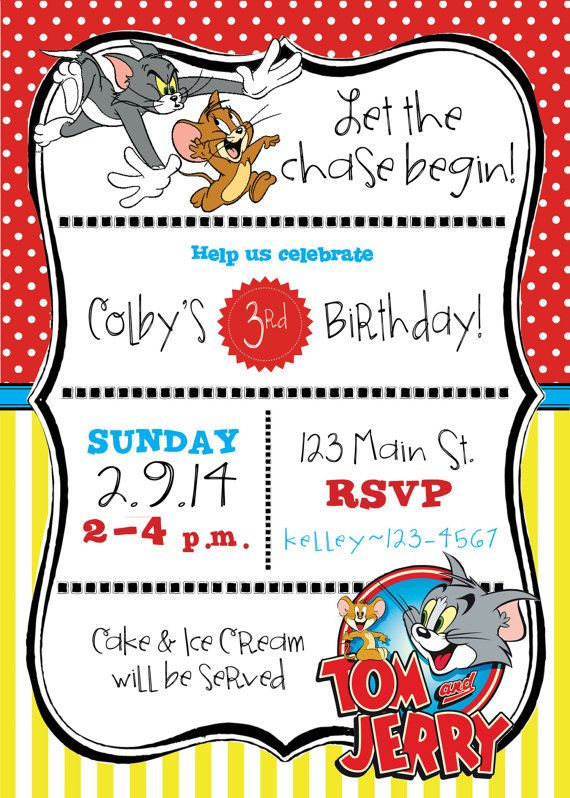 Tom & Jerry themed birthday party invite