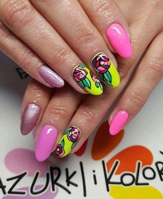 Aloha + Bim Bam Bom + Macarena + Holo Efekt + Paint Gel by Agnieszka Wysocka Mendalka #nails #nail #indigo #neon #omg #snapchat #wow #spring #pink #new