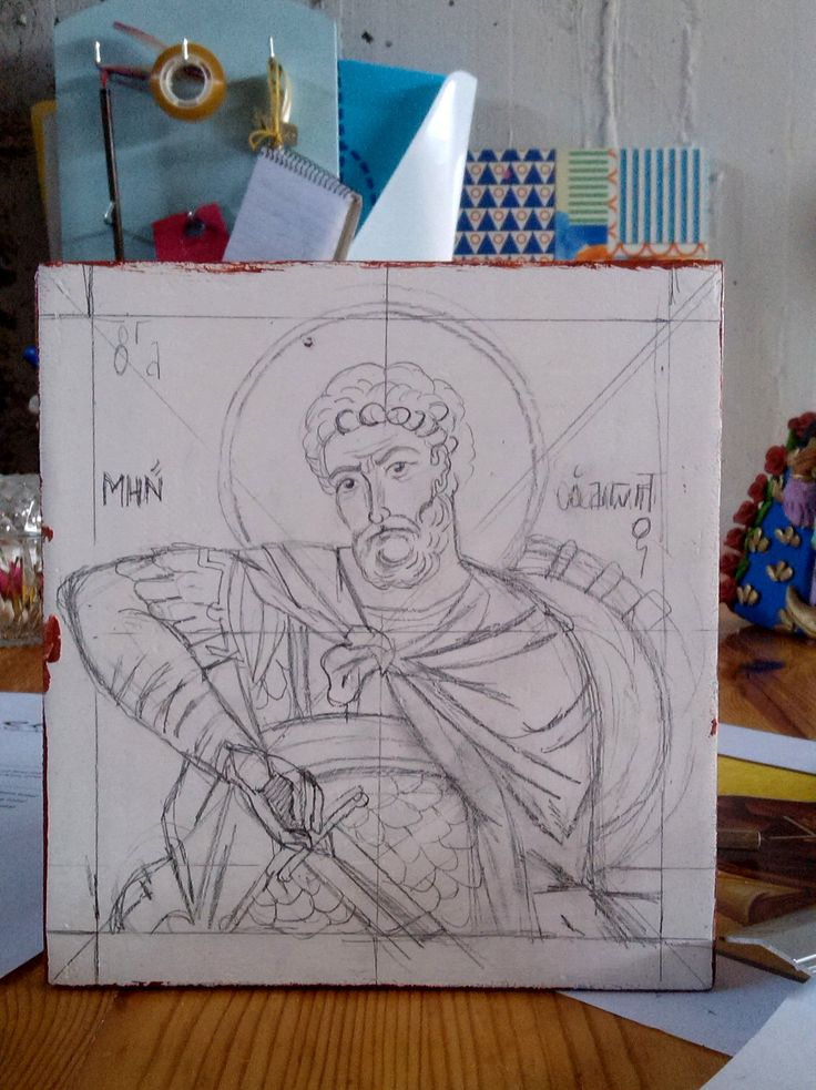 Saint Menas, the first drawing of his icon made by angelicon