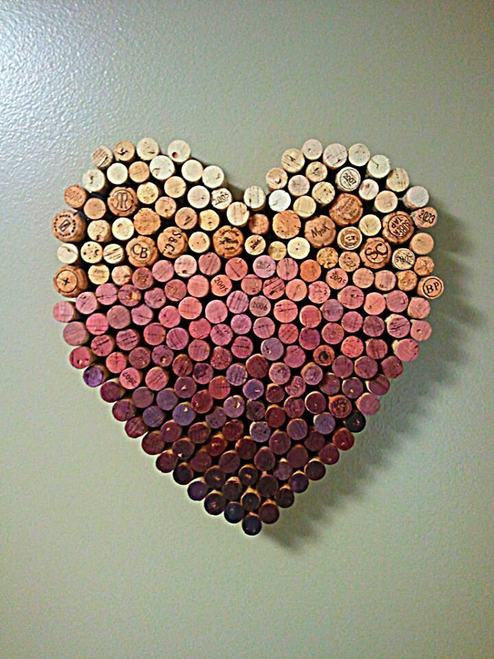 DIY: Wall Art! Heart made out of Wine Corks  GIFT IDEA: shape into first name initial