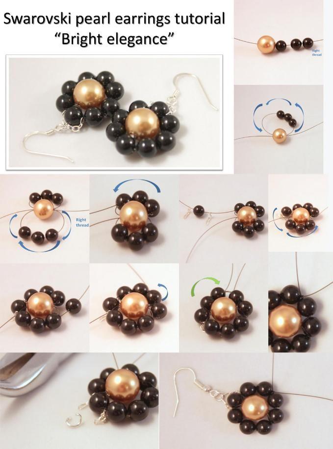 elegant pearl flower earrings. Craft ideas 3097 - LC.Pandahall.com