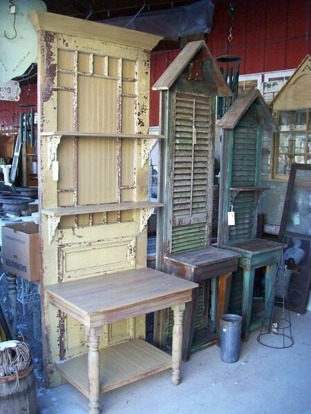 Potting benches made from old shutter's and reposed old doors..