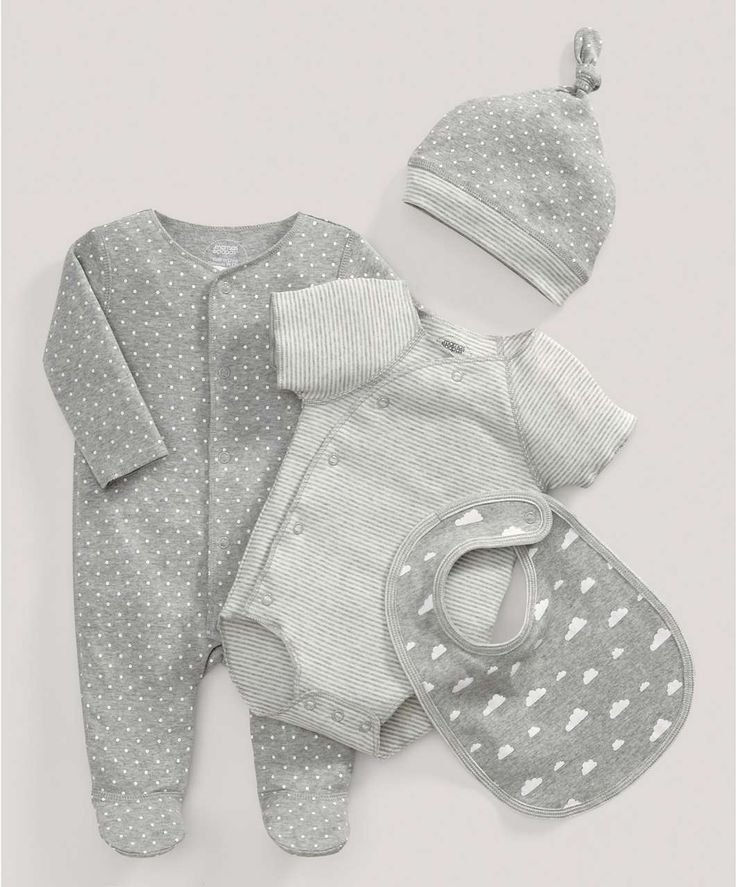 Grey All-in-One, Bodysuit and Bib Gift Set - All Unisex - Mamas & Papas