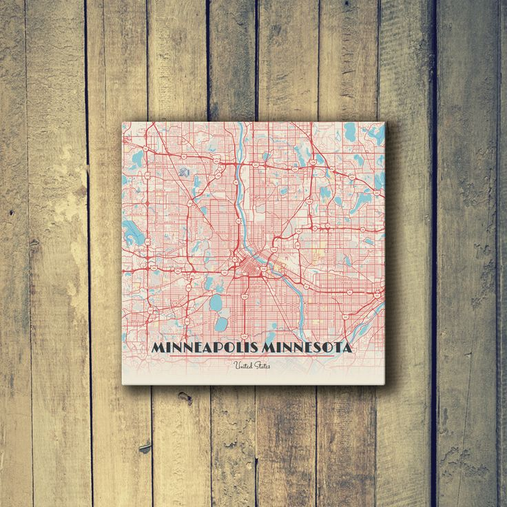 Map Of Oregon Breweries%0A Gallery Wrapped Map Canvas of Minneapolis Minnesota  Diner Retro   Minneapolis Map Art