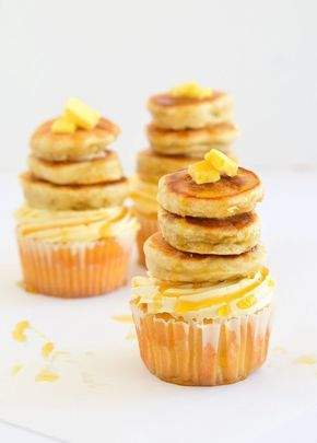These Maple Pecan Cupcakes are topped with tiny buttermilk pancakes.