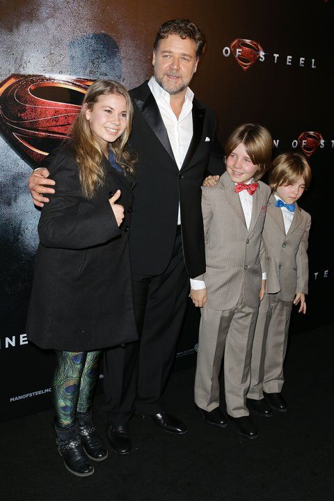 Russell Crowe with his two little boys and the late Steve Erwin's daughter, Bindi. This is precious. Just gonna go cry now.