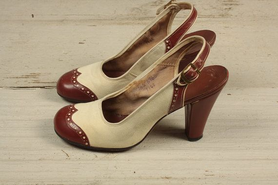 1940s shoes/ 40s wing tip heels/ size 6 by shopKLAD on Etsy