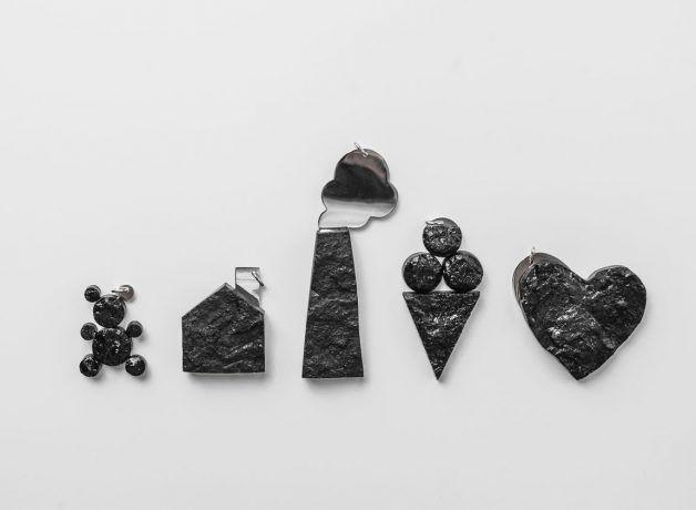 wisiory kształty miś domek komin lody serce pendants bear house chimney ice cream heart
