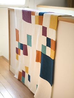 knit baby blanket - garter stitch blocks