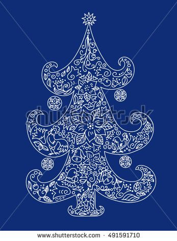 Vector Illustration of Christmas tree with balls, flowers, roosters and  other decorative elements. vector Illustration.
