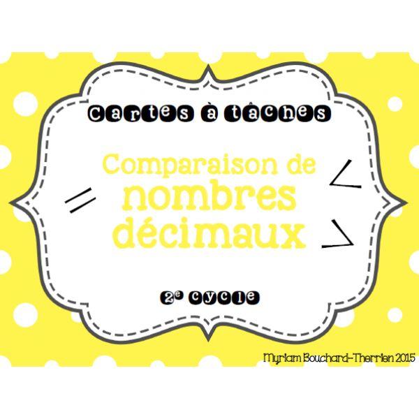 Cartes à tâches - Comparaison nombres décimaux