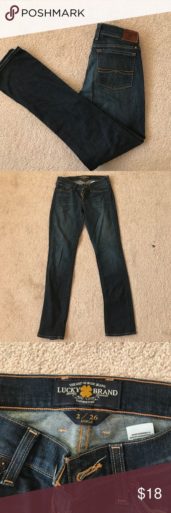 """Lucky brand straight cut jeans size 26 short Lucky brand straight cut jeans size 26 short """"Charlie straight"""". I am 5'2"""" and they are slightly too long. Great condition. Dark wash. Lucky Brand Pants Straight Leg"""