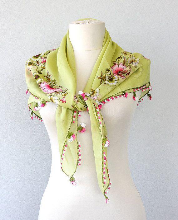 Needle lace scarf Oya scarf Turkish scarf summer by violasboutique