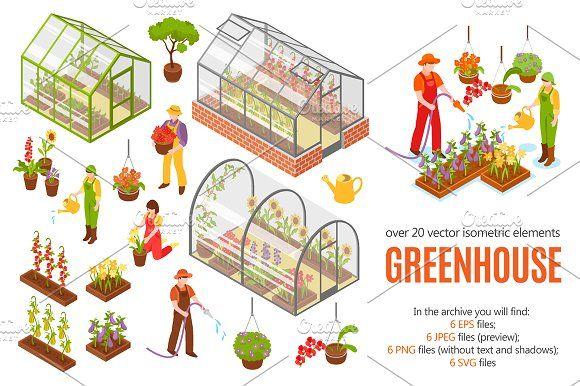 Greenhouse Isometric Set Isometric Graphic Illustration Illustration Design