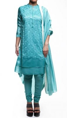 Blue Chikan Embroidered Salwar Suit | Strandofsilk.com - Indian Designers