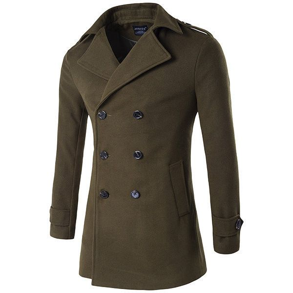 Business thick warm double-breasted trench coat ($66) ❤ liked on Polyvore featuring men's fashion, men's clothing, men's outerwear, men's coats, army green, mens fur collar coat, mens double breasted trench coat, mens double breasted coat and mens trench coat