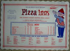 Pizza Inn...the only pizza my dad liked (1970s PIZZA INN tray liner by poptartsbox, via Flickr)
